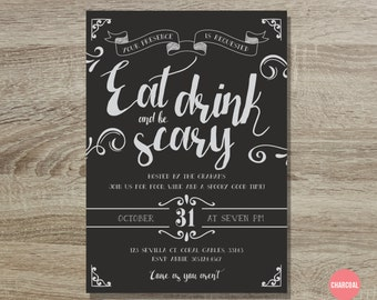 Halloween Invitation Printable // 5x7 Eat Drink and Be Scary Halloween Invite - Vintage Halloween - Adult Halloween Party - Trick or Treat