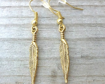 SALE - Gold Feather Earrings, Feather Jewelry, Costume Jewelry, Fashion Jewelry,Dangle Earrings,