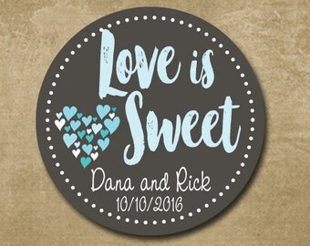 Personalized Wedding Favor Stickers, Love is Sweet, Custom Wedding Labels,  Wedding Favor Stickers, Charcoal & Aqua, Candy Buffet Stickers,