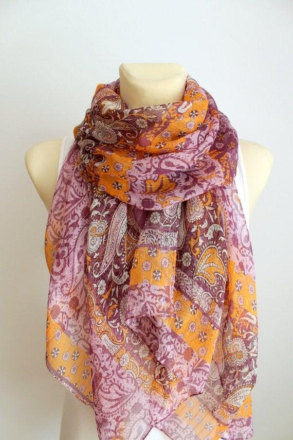 Purple Floral Silk Scarf - Traditional Women Fashion Shawl - Unique Fabric Scarf - Original Boho Scarf - Fashion Accessories