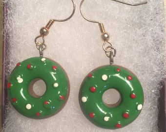 Christmas donut earrings