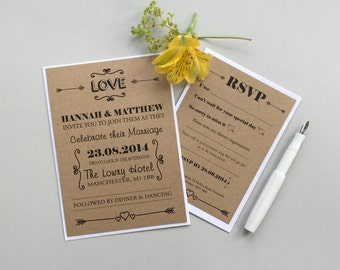 Perfect Wedding Invitations   Modern Typography Wedding Invitation   Brown Kraft  Wedding Invite   Heart And Arrows