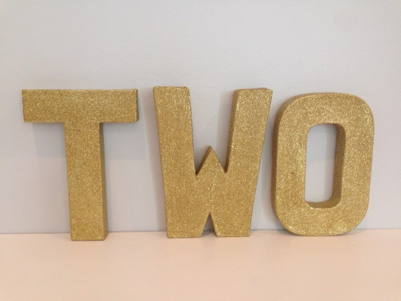 Glitter gold two 8 paper mache letters for Glitter cardboard letters