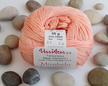 Cotton yarn - PEACH - 100% mercerized cotton yarn for knitting and crochet by Unitas - 50g/142m - Color number 30