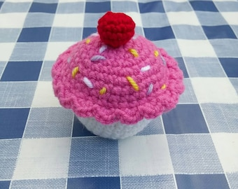 Crochet Cupcake Pincushion or Play Toy Food Customisable