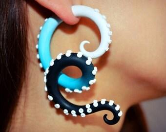 Tentacle Gauge and Fake Gauge Earrings, Octopus Gauge and Fakers - Faux Gauges, Ear Plugs and Fake Plugs 6g 4g 2g 0g 00g 716 12 916 58 34