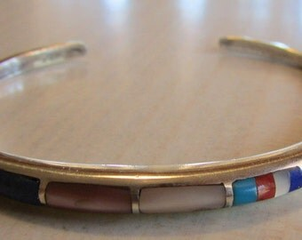 Sterling Silver Cuff Bracelet with Multi stone Inlay