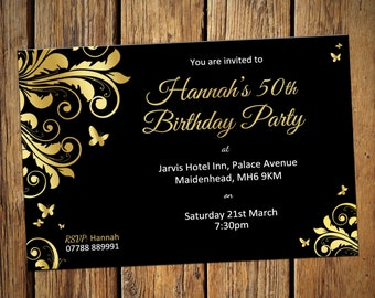 50th Birthday Personalised Party Invitations Gold Leaf