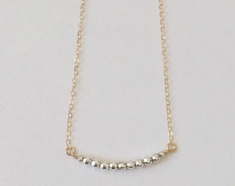 TWILIGHT bar necklace two tone gold fill necklace, dainty gold and silver necklace, bridesmaid gift, bridesmaid necklace