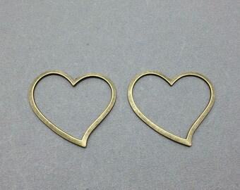 10 pcs Antique Bronze Heart Frame Charms 30mmx40mm