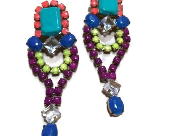 NEON TROPICANA painted rhinestone earrings