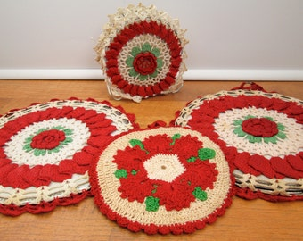 Vintage  red flower crocheted trivets napkin holder and coordinating hot pad retro 1950s kitchen accessories