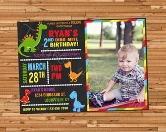 Dinosaur Themed Printable Birthday Invitation with Picture!