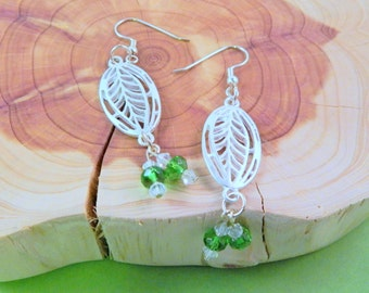 Shiny Silver and Green Leaf Earrings with Glass Beads