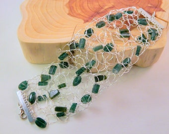 Emerald Green Aventurine Wire Crochet Bracelet, Green Cuff with Silver Wire, Green and Silver Wire Bracelet