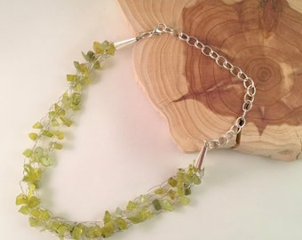Olive Jade Wire Crochet Necklace, Three Strand Necklace with Olive Jade, Olive Jade Choker with Silver Wire