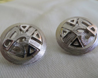 Vintage Crown Trifari Silver Button clip on Earrings Mint Condition