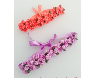 Coral and purple bun wreaths