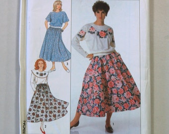 Rare Vintage 1980s Simplicity 9411 Sewing Pattern / Misses' Top, Collar and Skirt Pattern / Sizes 14-20