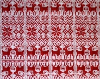 "Nordic Christmas Tissue Paper # 805 / Gift Paper .... 10 Large Sheets .... 20"" x 30"" ... Reindeer, Snowflake"