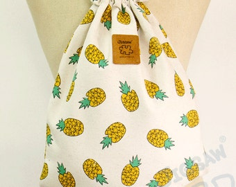 Pineapple Backpack Canvas drawstring bag Cotton Backpack Laptop bag Hip bag Handmade bag
