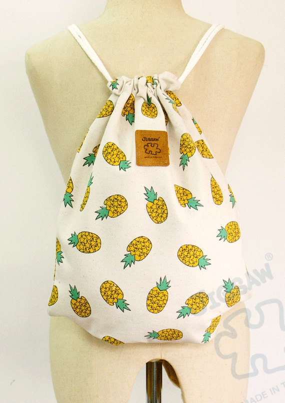 Pineapple Backpack Canvas drawstring bag Cotton Backpack