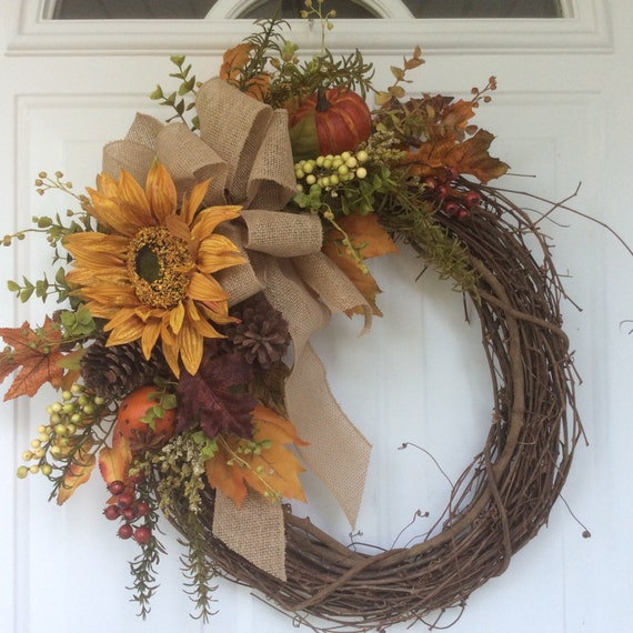 Fall Wreath-Sunflower WreathRustic Wreath-Country