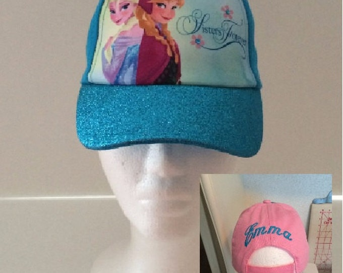FROZEN Toddler Girls Anna & Elsa Sisters Baseball Hat - Blue Personalized