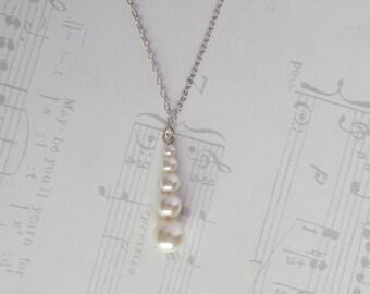 Bridal Necklace Swarovski Pearl Sterling Silver Chain Wedding Necklace Bridesmaid Necklace - Camille