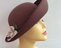 Vintage Hat Kangol Asymetric Rim Brown Polyester Flower Decoration Made In Great Britain c 1970s