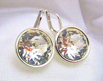 Large Swarovski Elements Rivolie Crystal Leverback Earrings - Clear Crystal
