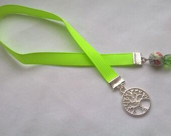 tree of life green grosgrain ribbon bookmark