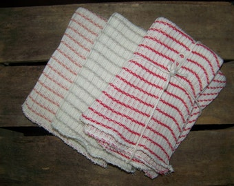 Set of Three Knitted Cotton Dishcloths Kitchen Farmhouse Cleaning Cloth Motorcycle Automobile Dusting Cloth Linen