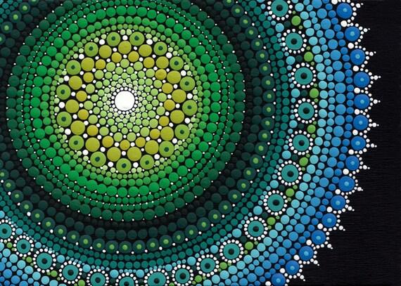 Mandala dot art 5x7 quot dotillism pointillism hand painted original