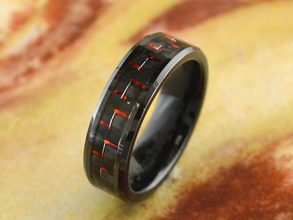 Items similar to Black Ceramic Wedding Band W Red and Black Carbon Fiber Inla