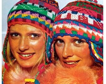KNITTING HELMET HAT Pattern Vintage 70s Ear Flap Ski Cap Hat Pattern Peruvian Hat Pattern Helmet Crochet Hat Pattern