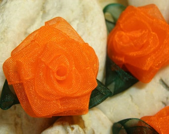 "5, 1.5"", Organza Flowers, Orange, Roses, Organza Ribbon Roses,Embellishments, Flowers, Craft Supply Flowers, Ribbon Flowers, Handmade"