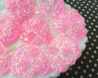 Pink skull - resin skull - glitter skull - Glitter Skull Cabochons  - Bright Pink Skull Cabochons