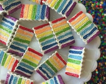 Rainbow Cake Cabochon - Cake Flatback Cabochon - 20mm Rainbow Cake Charm - 5 pcs.