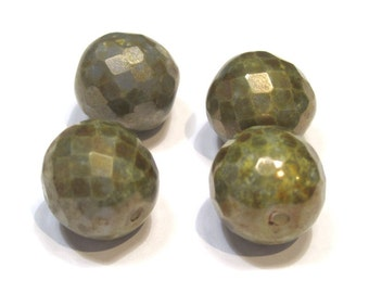 Czech Glass 14mm Facet Round - Opaque Olive - Pack 4