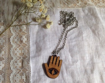 Wooden All Seeing Eye Necklace