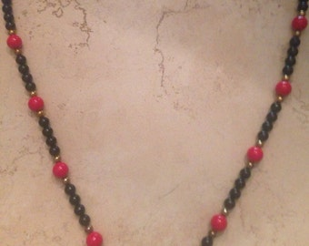 Vintage Red and Black Necklace Gold Spacers Costume Jewelry
