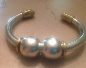 Vintage Taxco Bracelet Sterling Silver Cuff Mexico Brass/Gold Wire 28 grams