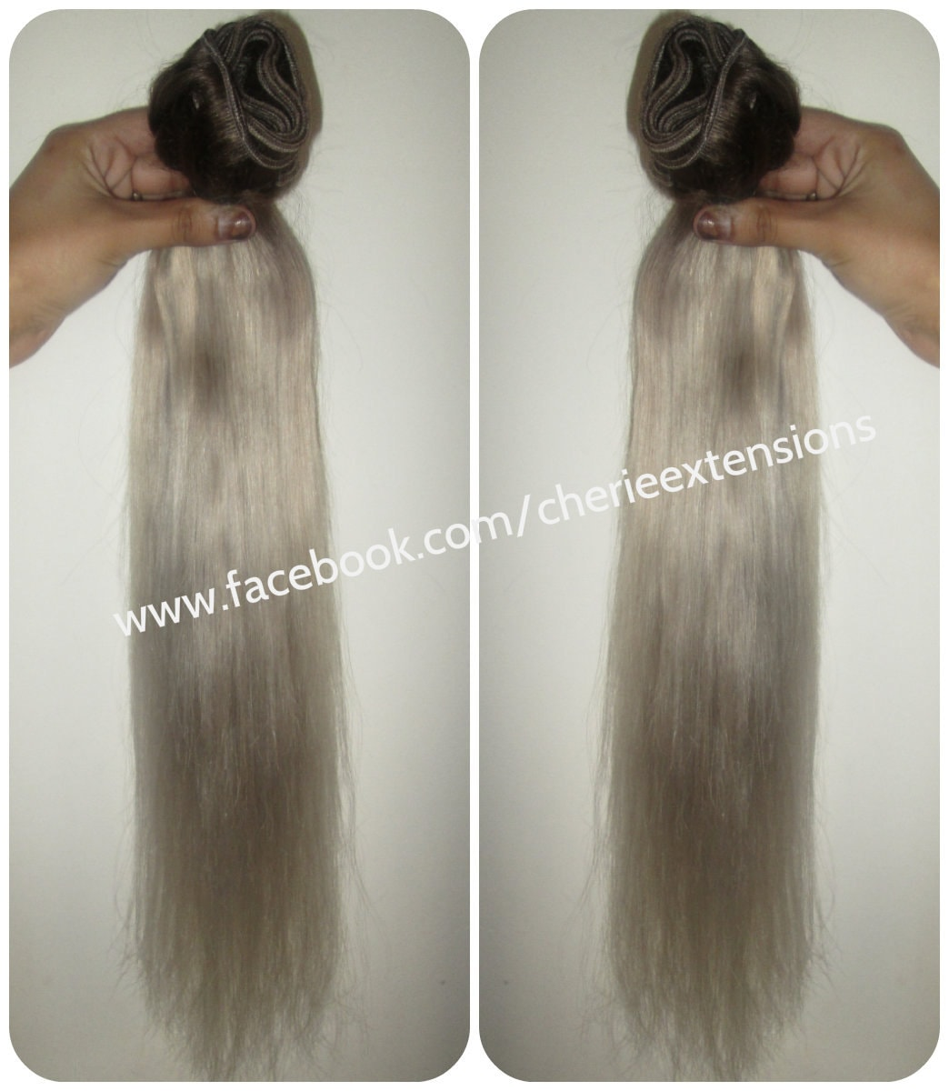 Colour 3 ash brown silver grey white hair extensions dip dye zoom pmusecretfo Images