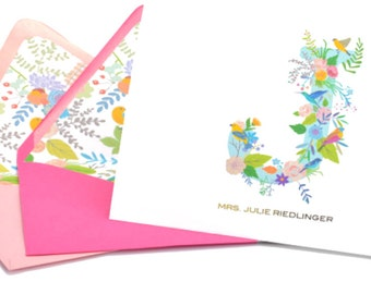 Gold Foil Personalized Floral Notecards