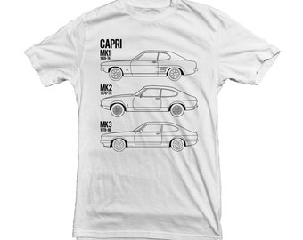 Ford Capri MK1-MK3 Car T-Shirt for Ford Owner Driver Fan Gift - high quality T-shirt and print