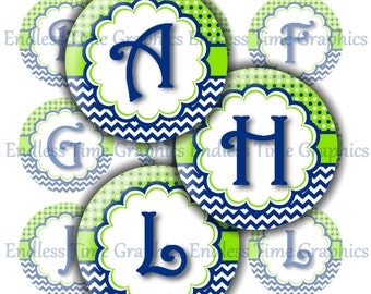 Alphabet Bottle Cap Images ~*DIGITAL*~ Blue and Green Polka Dot Chevron Full Alphabet ~*Digital Collage Sheet*~ 1 Inch Printable Circles 079