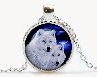 Wolf Glass pendant. Wolf Loyalty Necklace. Wolf couple, Wolves jewelry, birthday gift
