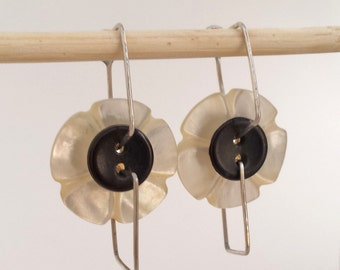 Button Earrings : Vintage Flower Shell Buttons with Sterling Silver Hooks, Black and White