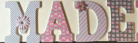 Items Similar To Pink Owl Wall Letters For Baby Nursery
